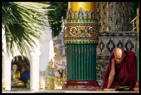 Buddha and Monk - Shwedagon Pagoda, Yangon