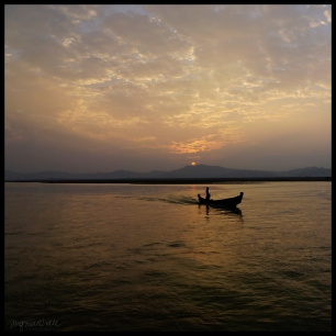 Fisherman at Sunset - Ayeyarwady river