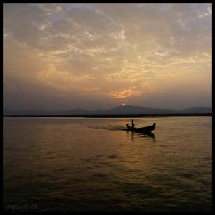 Fisherman at Sunset - Ayeyarwady river