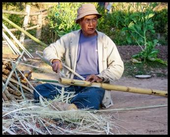 Village Man Making Wood Carrier - Shan State