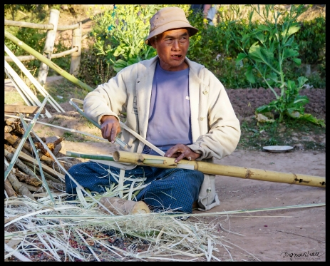 Village Man Making Wood Carrier - Shan State