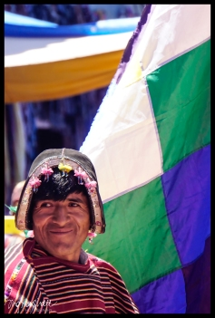 Tarabuco Man with Flag - Tarabuco